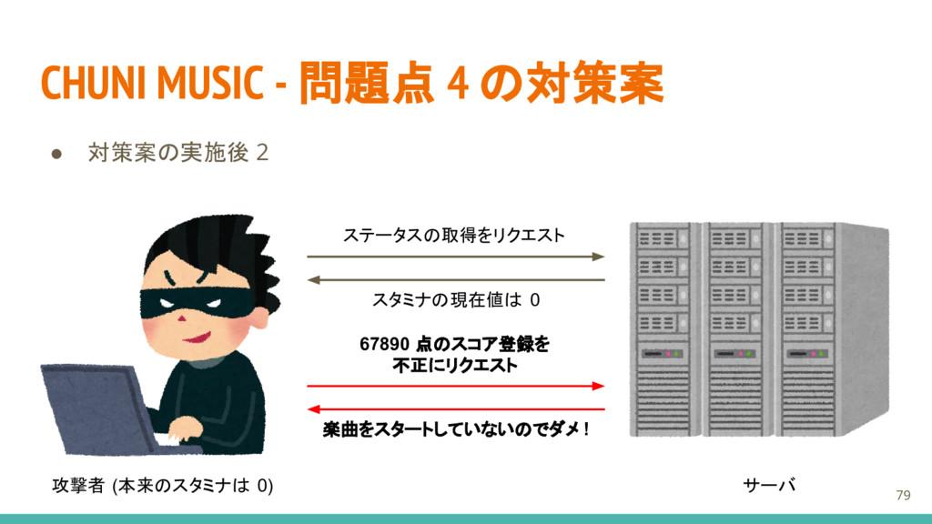 CHUNI MUSIC - 問題点 4 の対策案 ● 対策案の実施後 2 攻撃者 (本来のスタ...