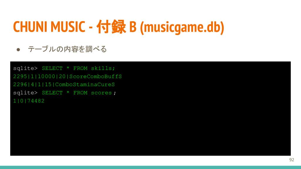 CHUNI MUSIC - 付録 B (musicgame.db) ● テーブルの内容を調べる...