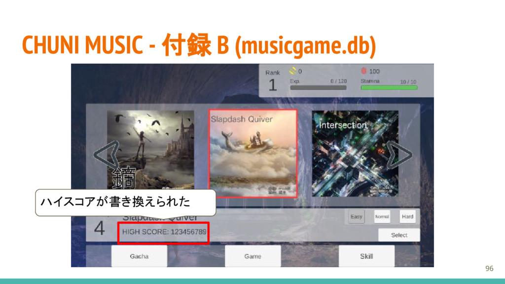 CHUNI MUSIC - 付録 B (musicgame.db) 96 ハイスコアが書き換え...