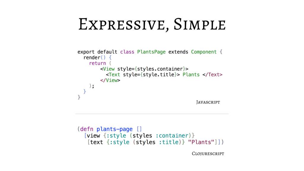 Expressive, Simple Javascript Clojurescript