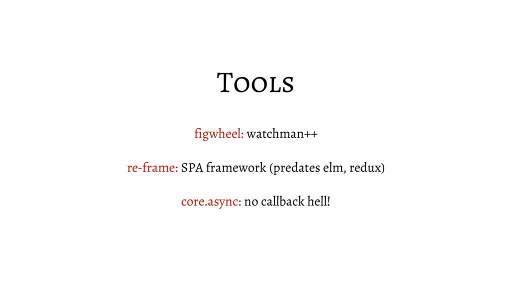 Tools figwheel: watchman++ re-frame: SPA framew...