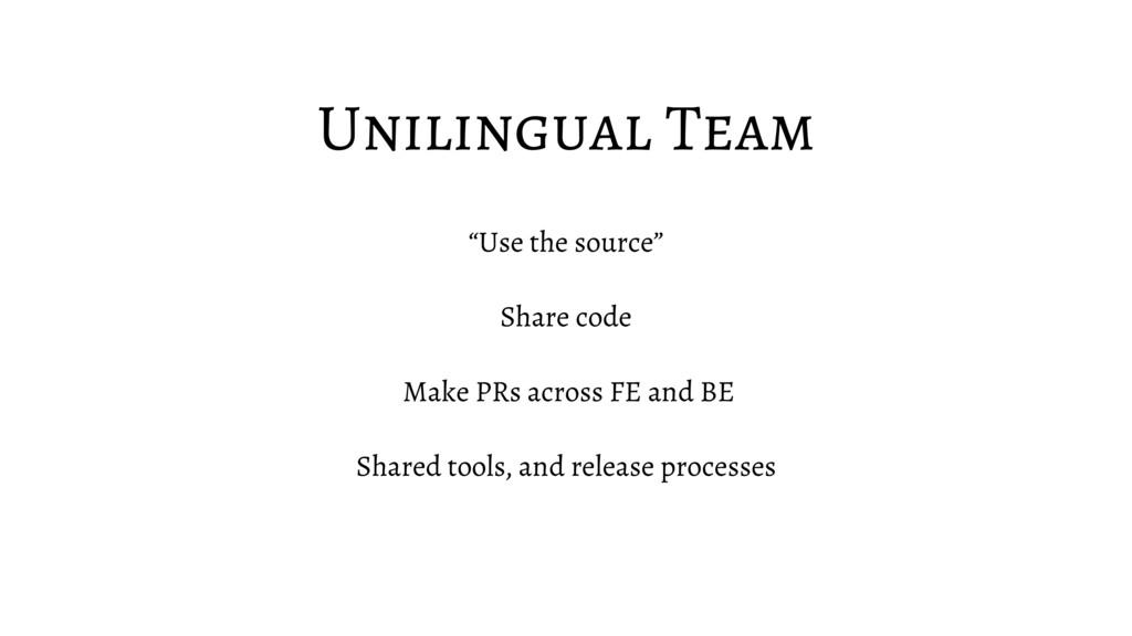 "Unilingual Team ""Use the source"" Share code Mak..."