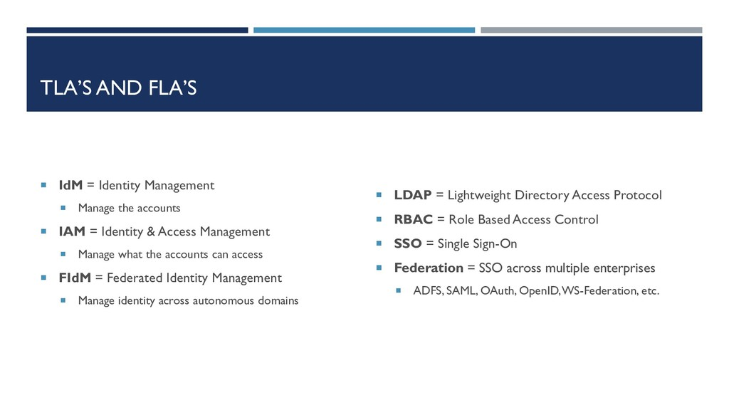 TLA'S AND FLA'S  IdM = Identity Management  M...