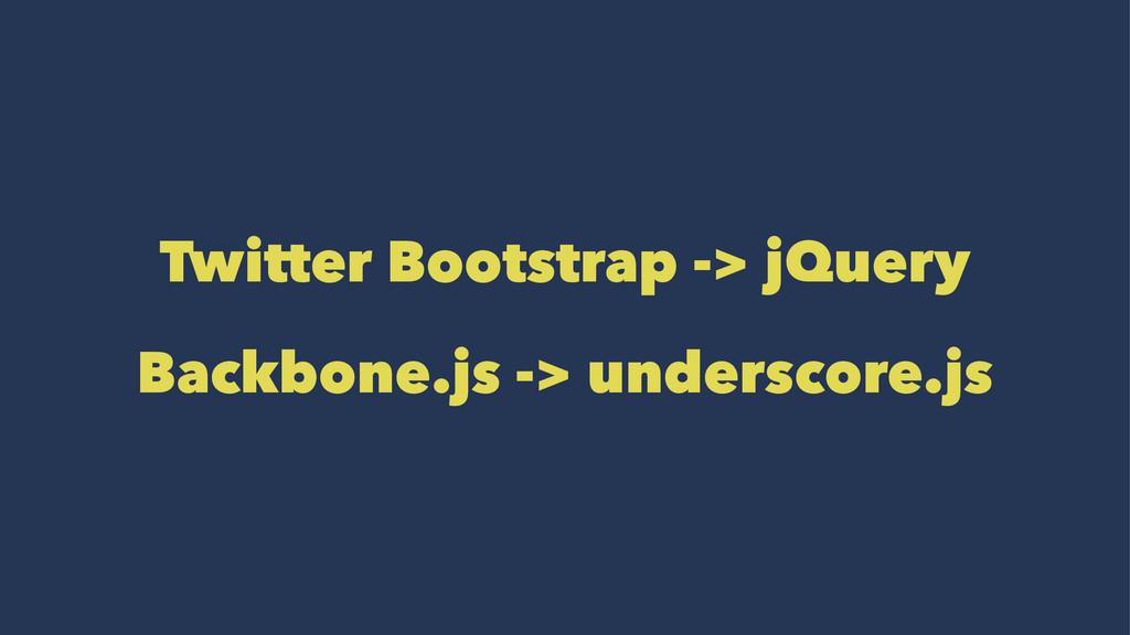 Twitter Bootstrap -> jQuery Backbone.js -> unde...