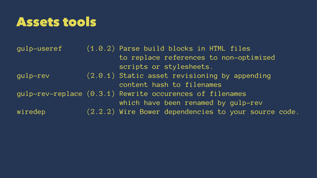 Assets tools gulp-useref (1.0.2) Parse build bl...