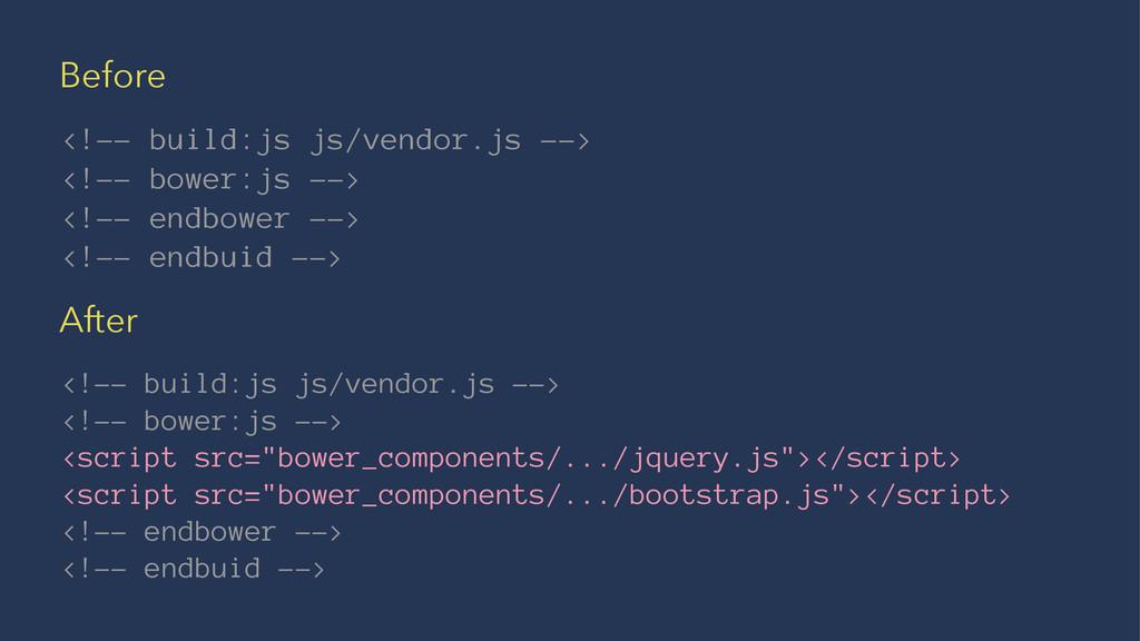 Before <!-- build:js js/vendor.js --> <!-- bowe...