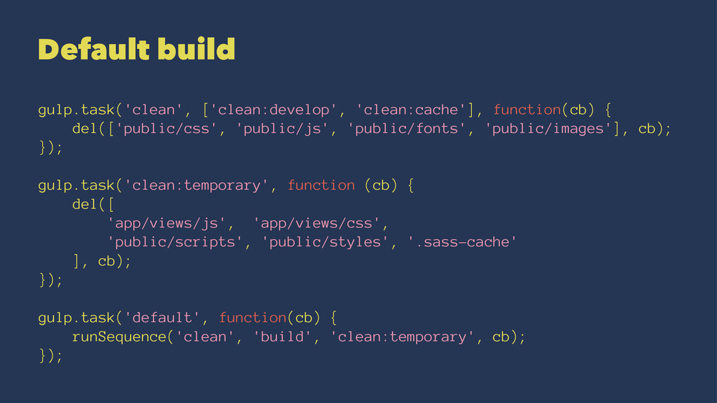 Default build gulp.task('clean', ['clean:develo...