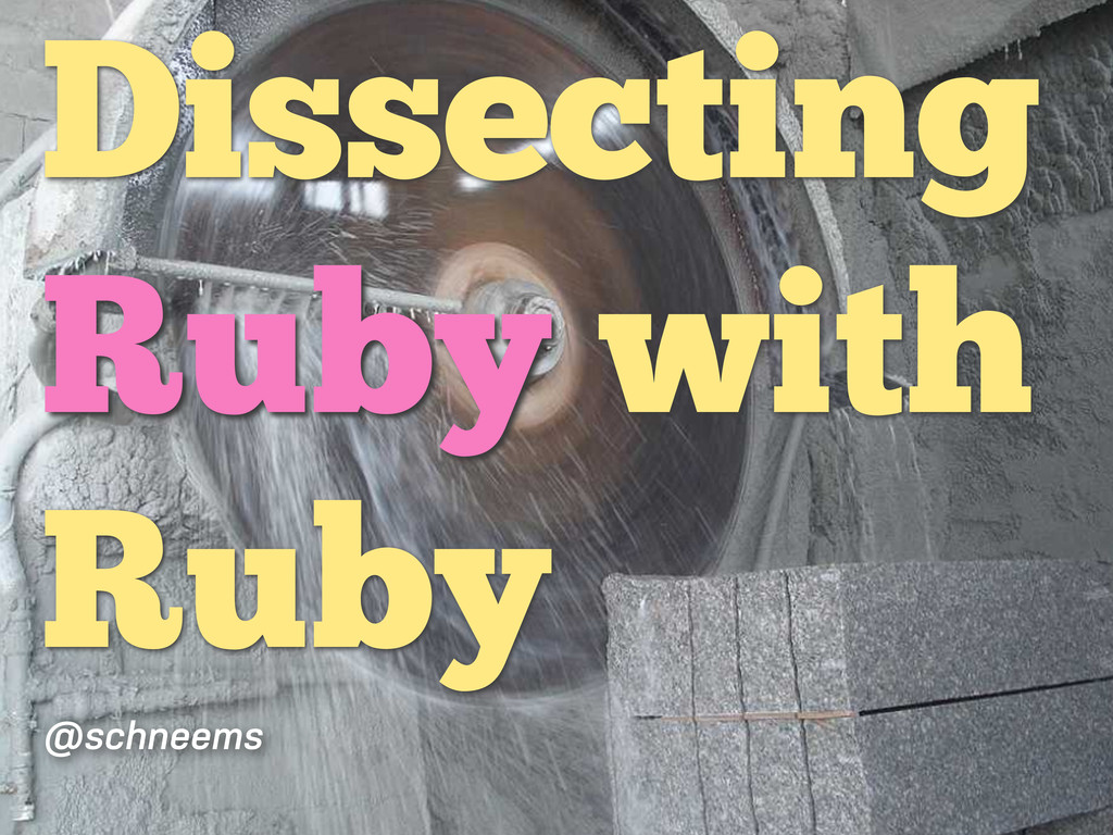 Dissecting Ruby with Ruby @schneems