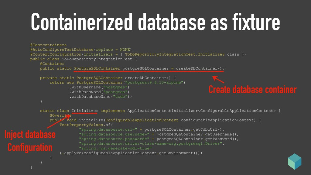 Containerized database as fixture @Testcontaine...