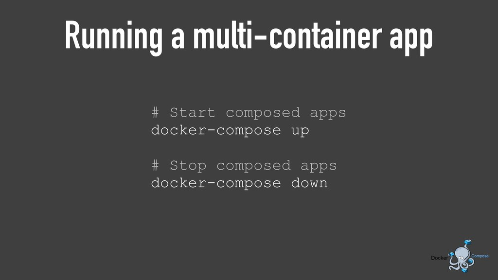 Running a multi-container app # Start composed ...