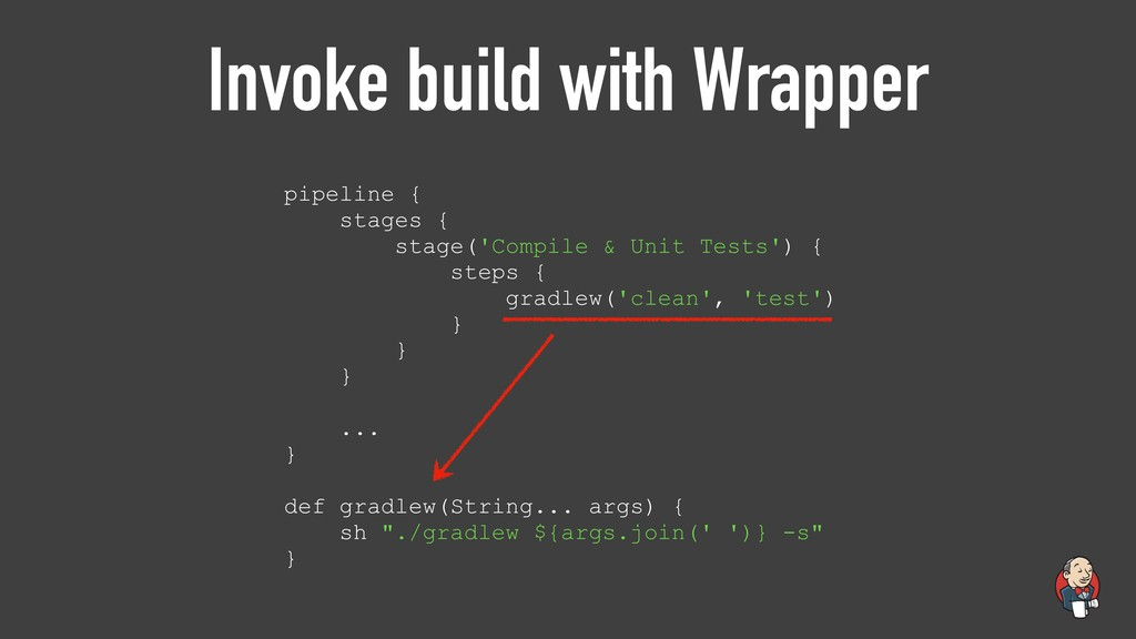 Invoke build with Wrapper pipeline { stages { s...