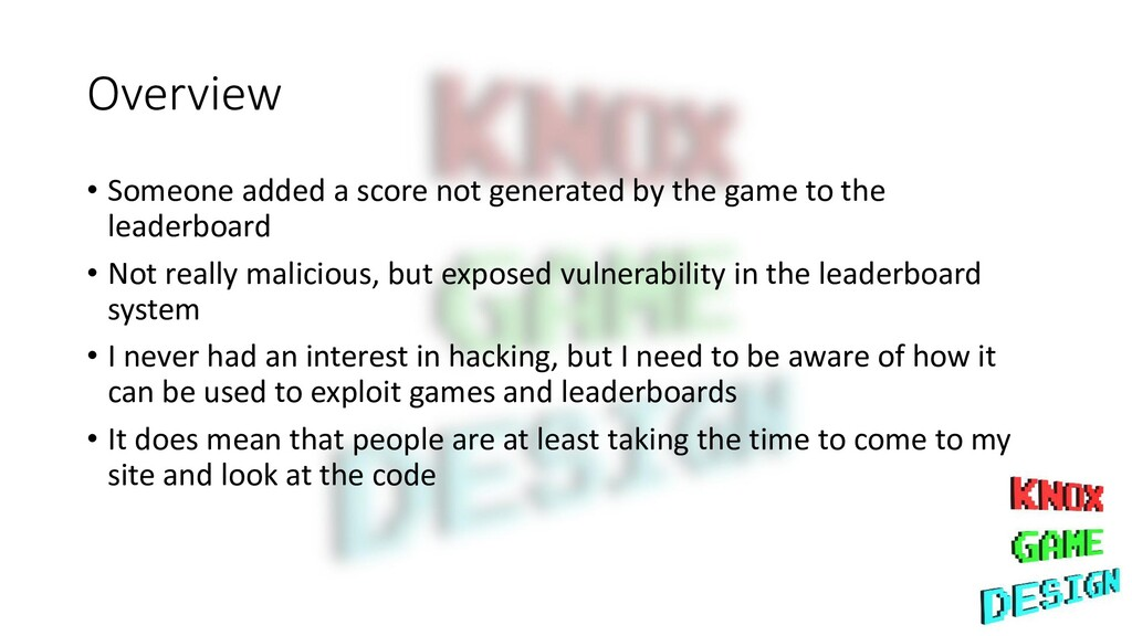Overview • Someone added a score not generated ...