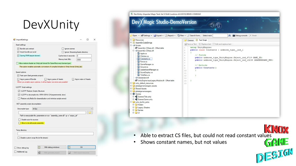 DevXUnity • Able to extract CS files, but could...