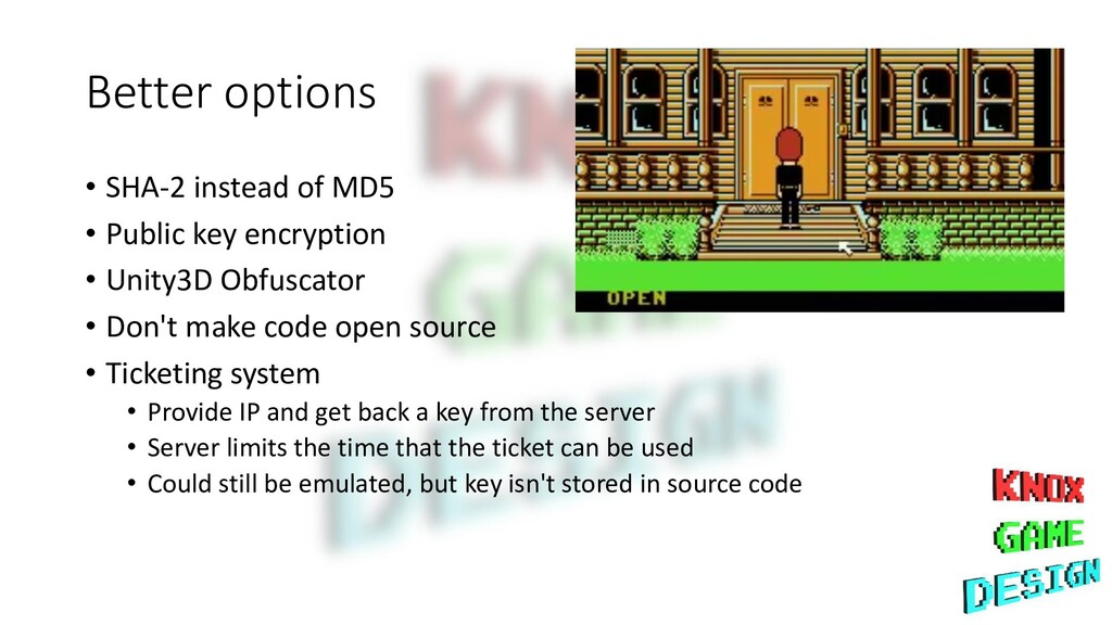 Better options • SHA-2 instead of MD5 • Public ...