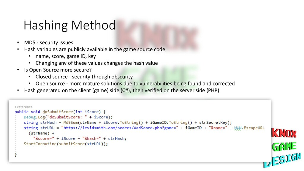 Hashing Method • MD5 - security issues • Hash v...