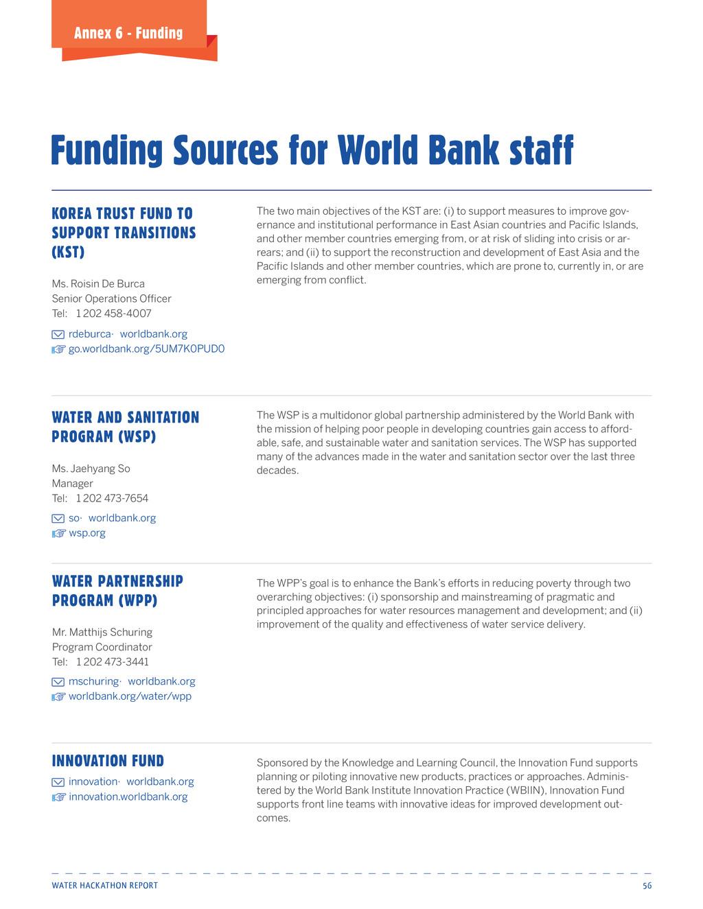 Water Hackathon Report 56 Annex 6 - Funding Fun...