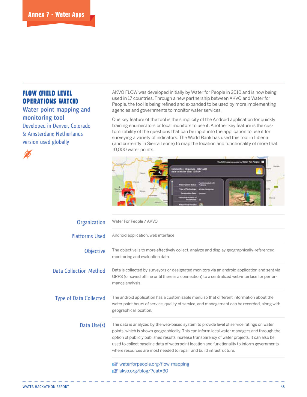 Water HackatHon report 58 Annex 7 - water Apps ...
