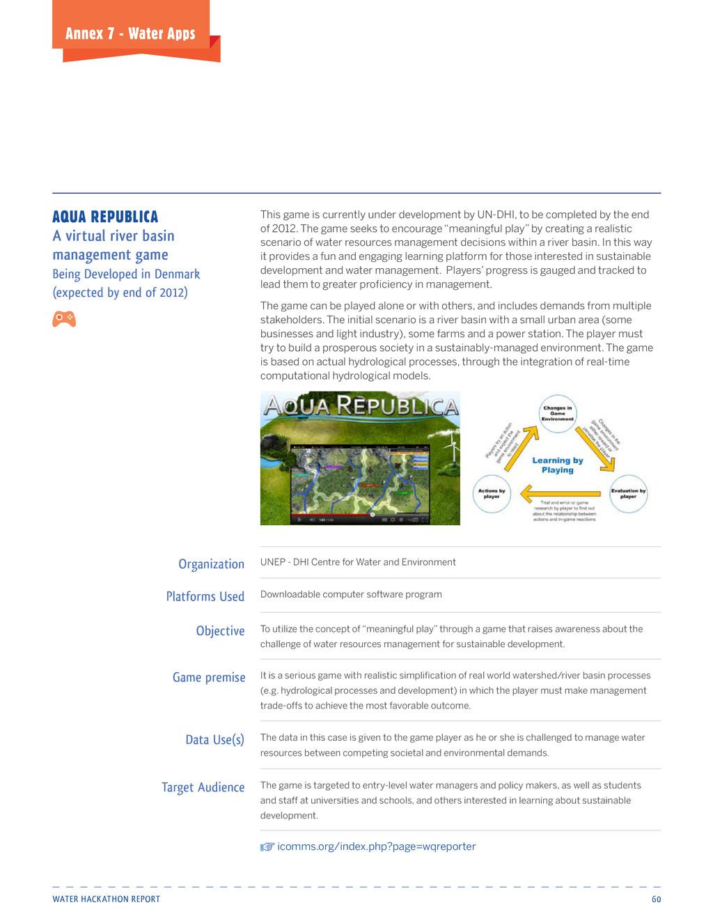 Water HackatHon report 60 Annex 7 - water Apps ...