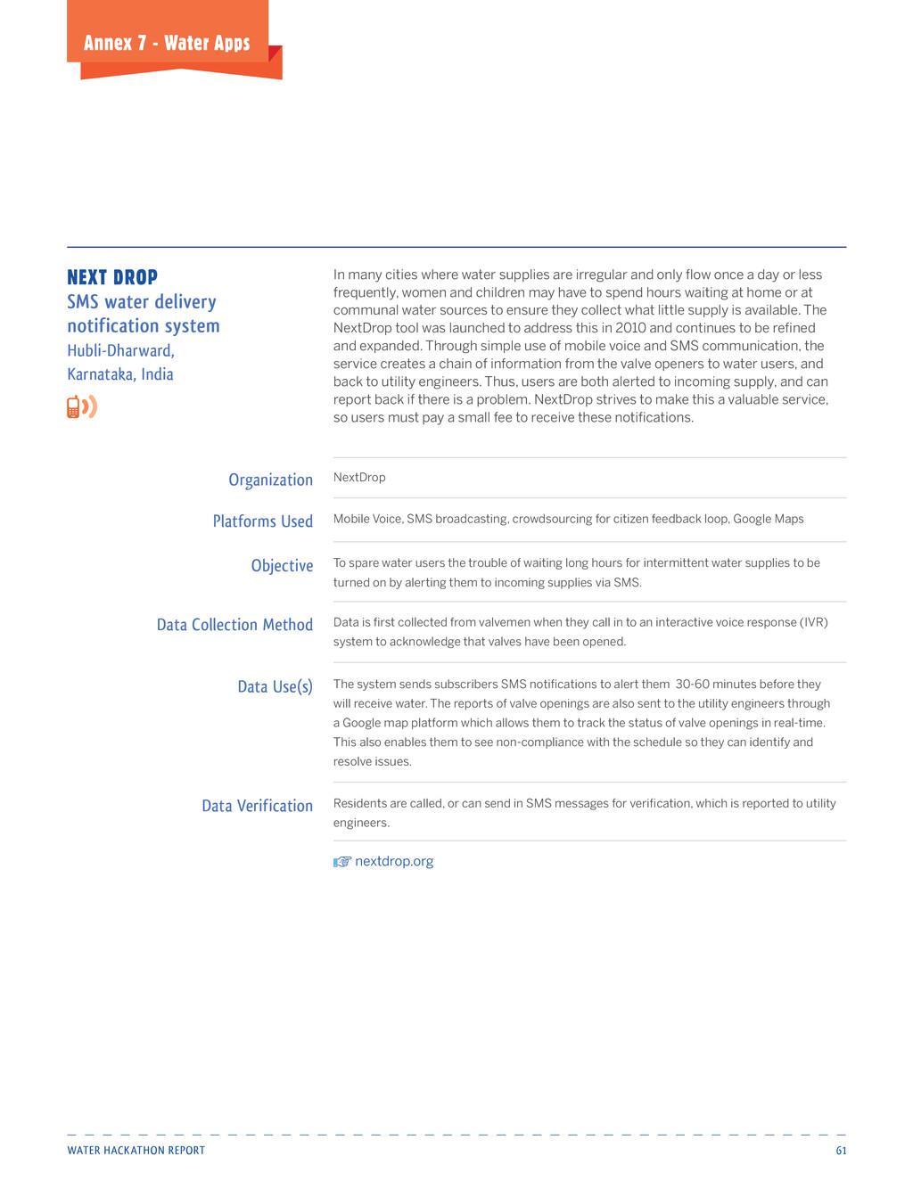 Water Hackathon Report 61 Annex 7 - Water Apps ...