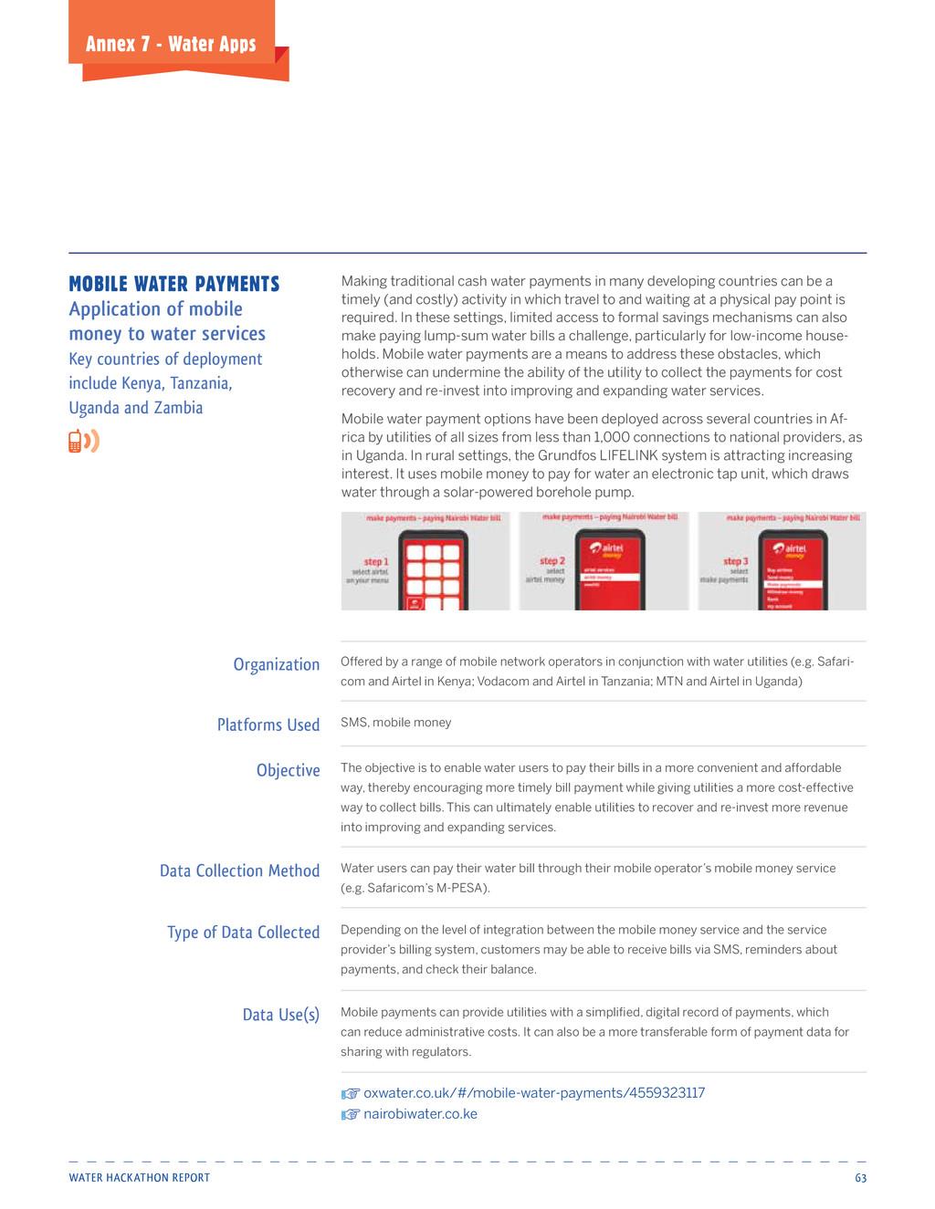 Water HackatHon report 63 Annex 7 - water Apps ...