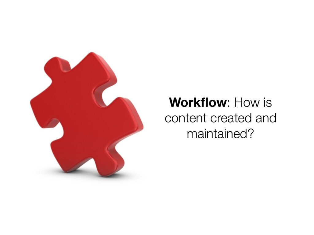 Workflow: How is content created and maintained?