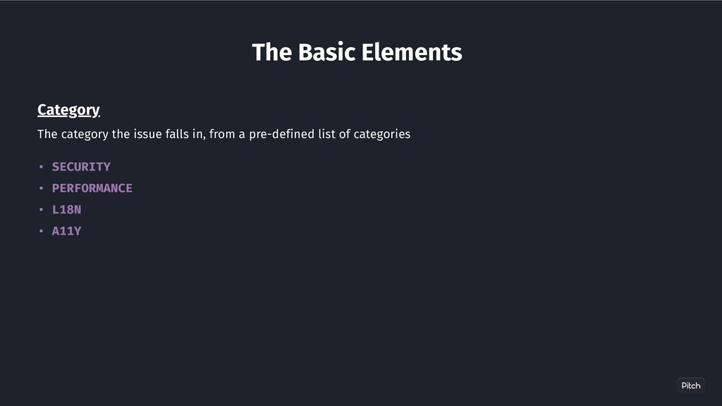 The Basic Elements Category The category the is...