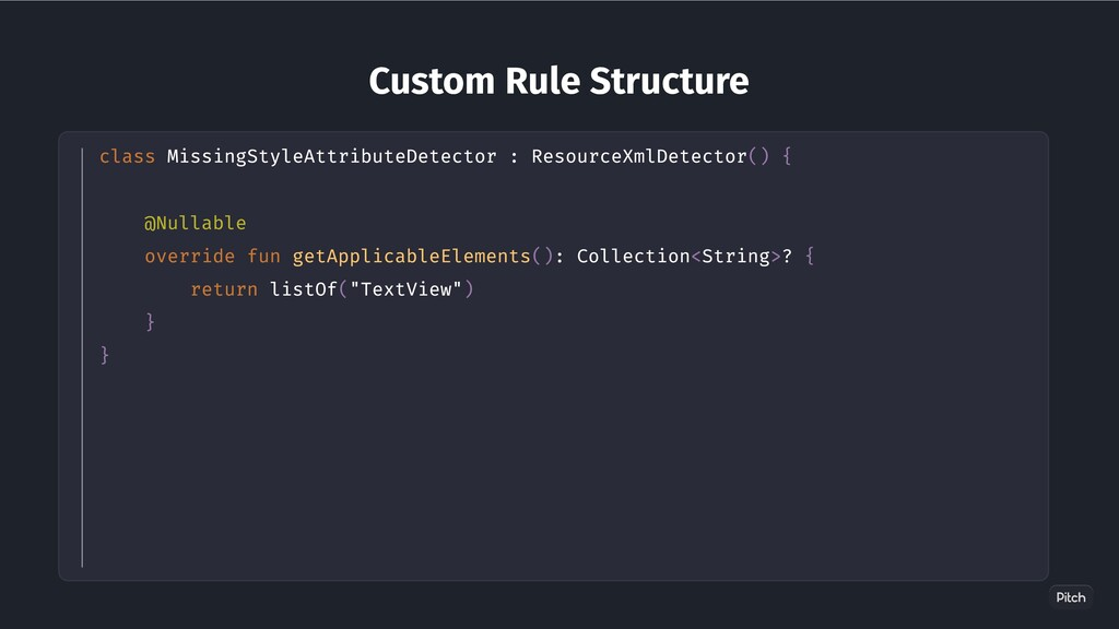 Custom Rule Structure class MissingStyleAttribu...