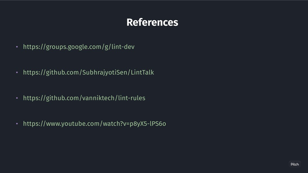 References • https://groups.google.com/g/lint-d...