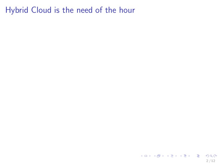 Hybrid Cloud is the need of the hour 2 / 12