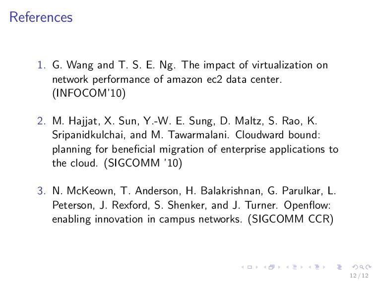 References 1. G. Wang and T. S. E. Ng. The impa...