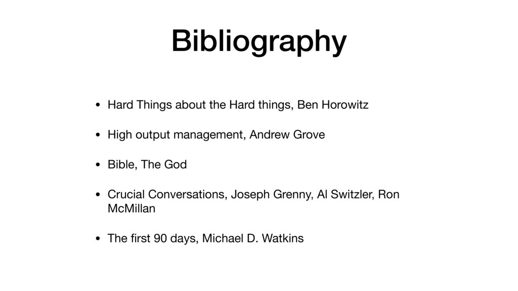 Bibliography • Hard Things about the Hard thing...