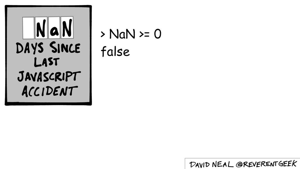 > NaN >= 0 false