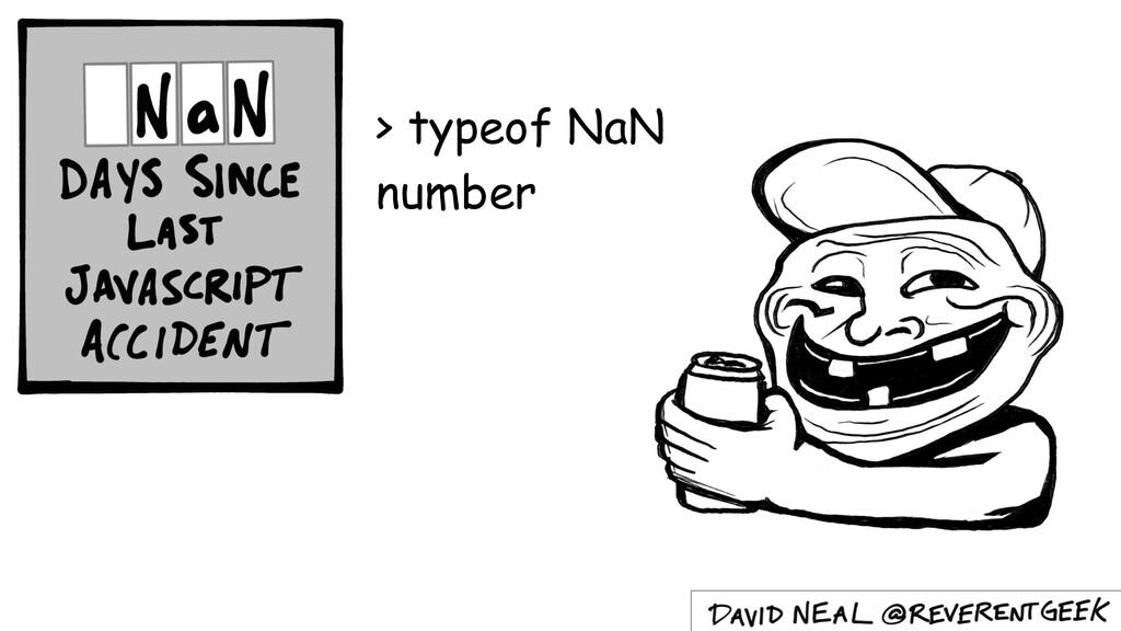 > typeof NaN number