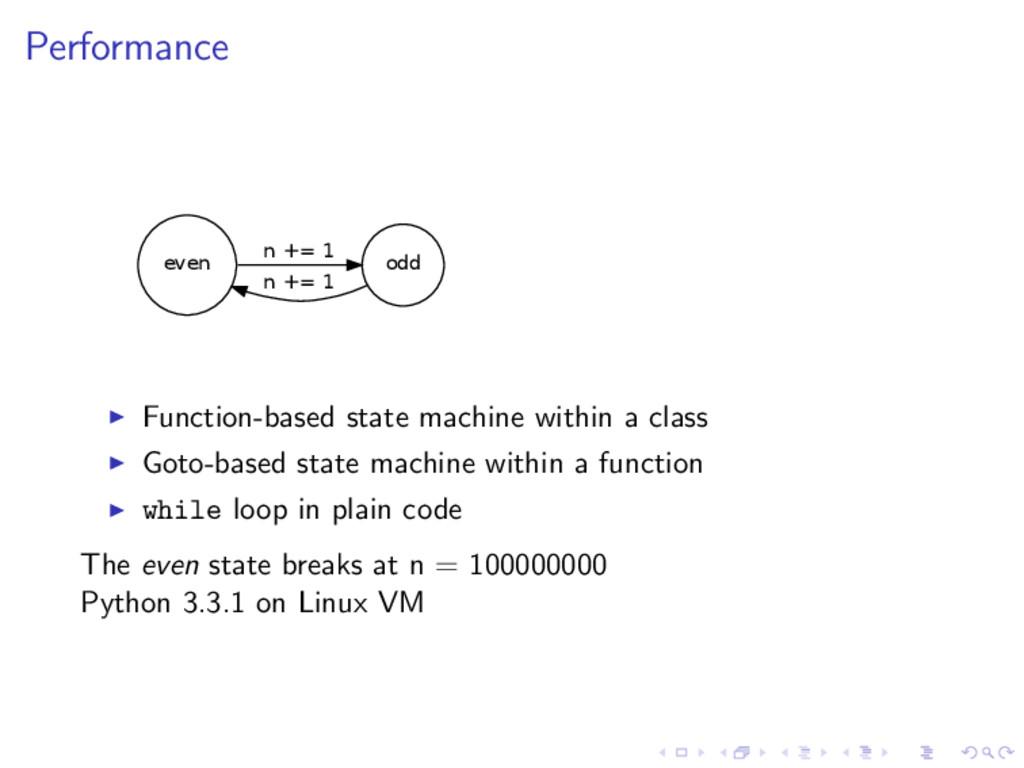 Performance even odd n += 1 n += 1 Function-bas...