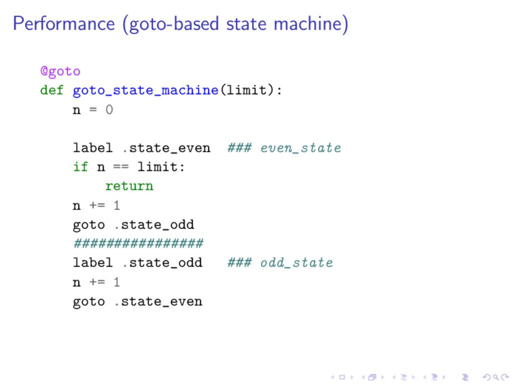 Performance (goto-based state machine) @goto de...