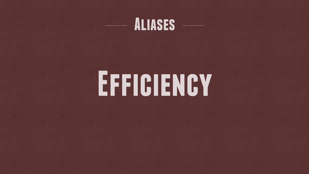 Aliases Efficiency