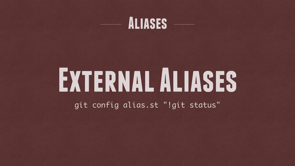 "git config alias.st ""!git status"" External Alia..."
