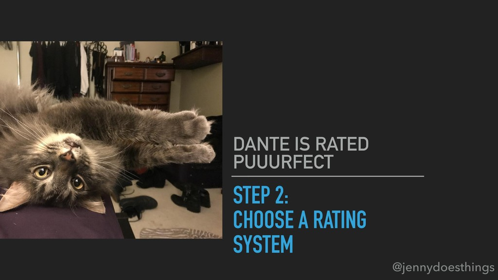 STEP 2: CHOOSE A RATING SYSTEM DANTE IS RATED P...