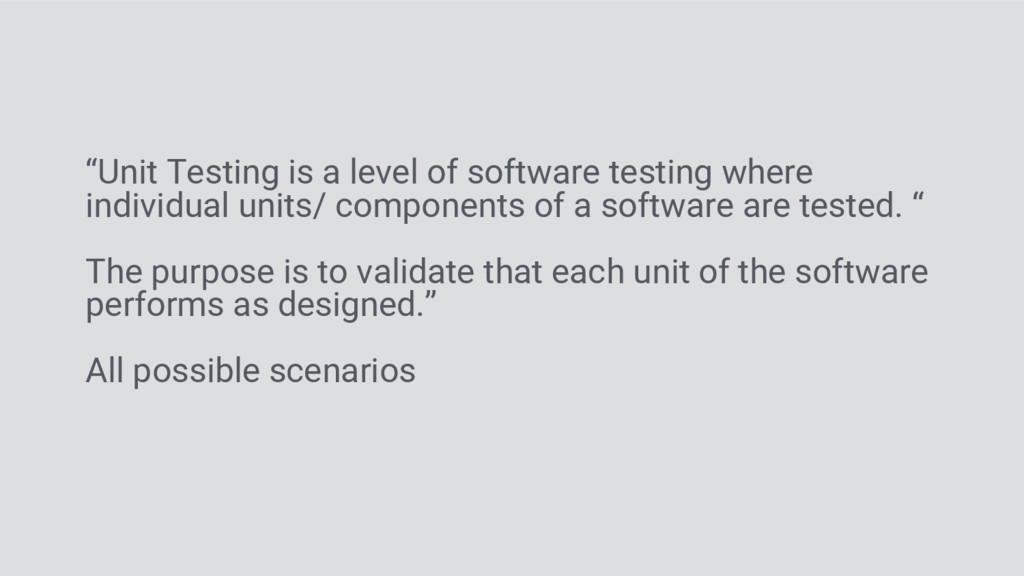 """Unit Testing is a level of software testing wh..."