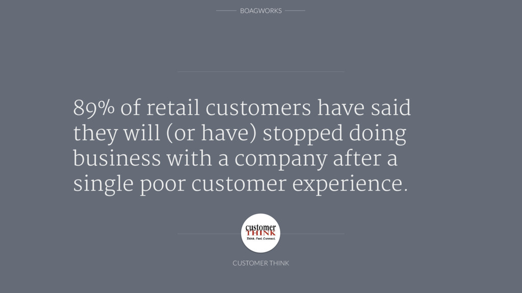 BOAGWORKS 89% of retail customers have said the...