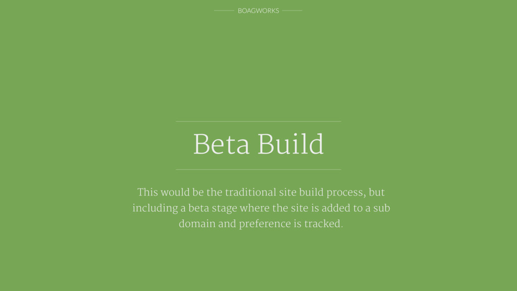 BOAGWORKS Beta Build This would be the traditio...