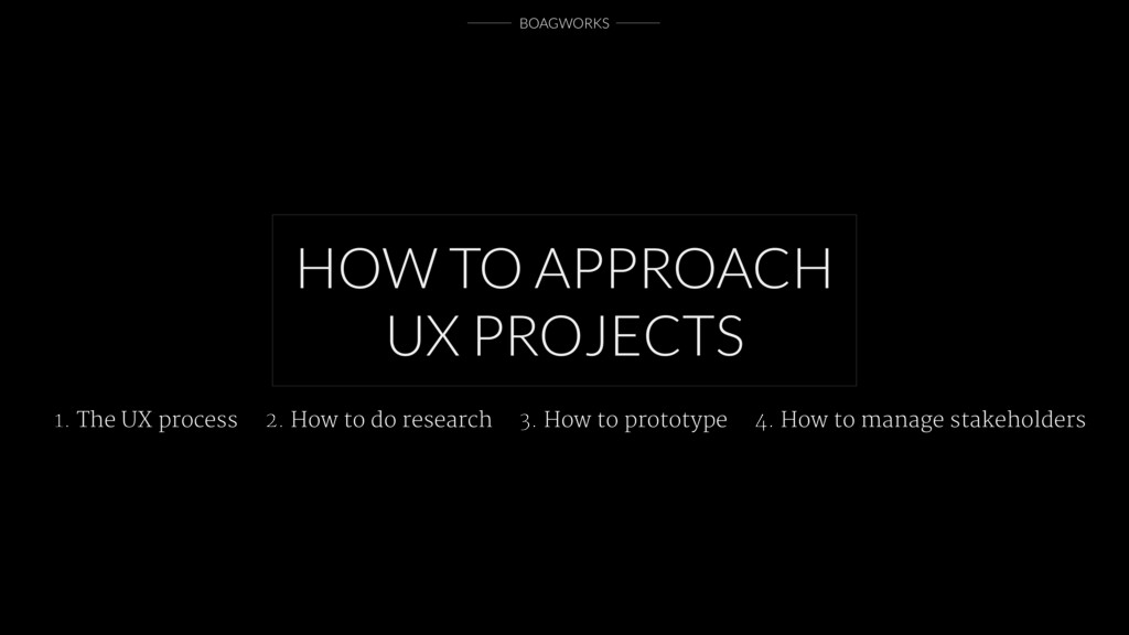 BOAGWORKS HOW TO APPROACH UX PROJECTS 1. The UX...