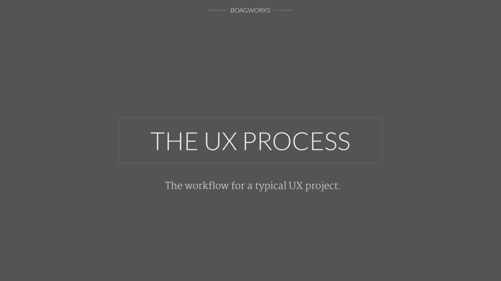 BOAGWORKS THE UX PROCESS The workflow for a typi...