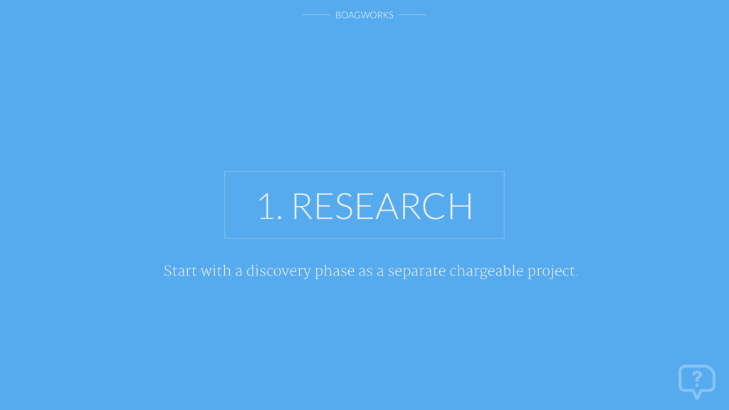 BOAGWORKS 1. RESEARCH Start with a discovery ph...