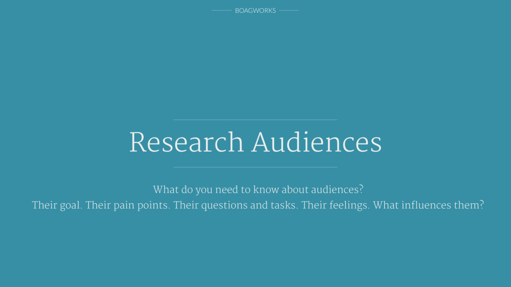 BOAGWORKS Research Audiences What do you need t...