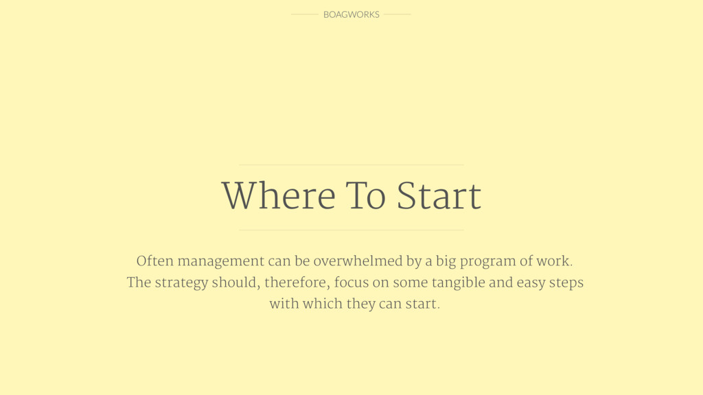 BOAGWORKS Where To Start Often management can b...