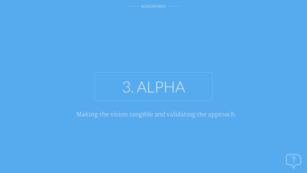 BOAGWORKS 3. ALPHA Making the vision tangible a...