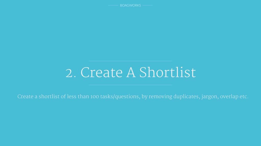 BOAGWORKS 2. Create A Shortlist Create a shortl...