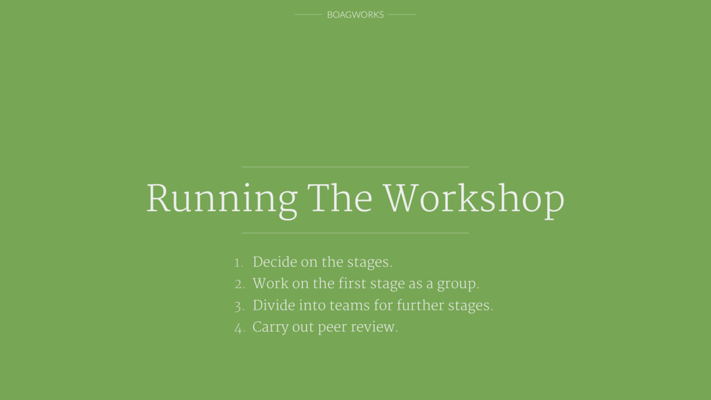 BOAGWORKS Running The Workshop 1. Decide on the...