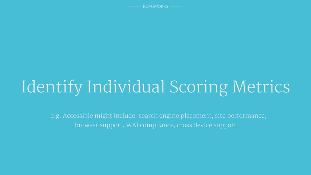 BOAGWORKS Identify Individual Scoring Metrics e...
